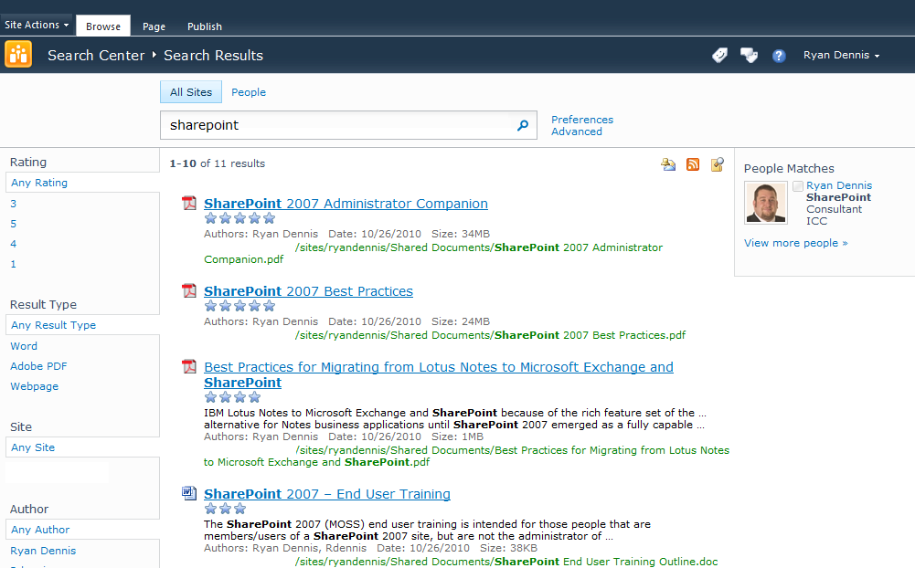 pages search results page